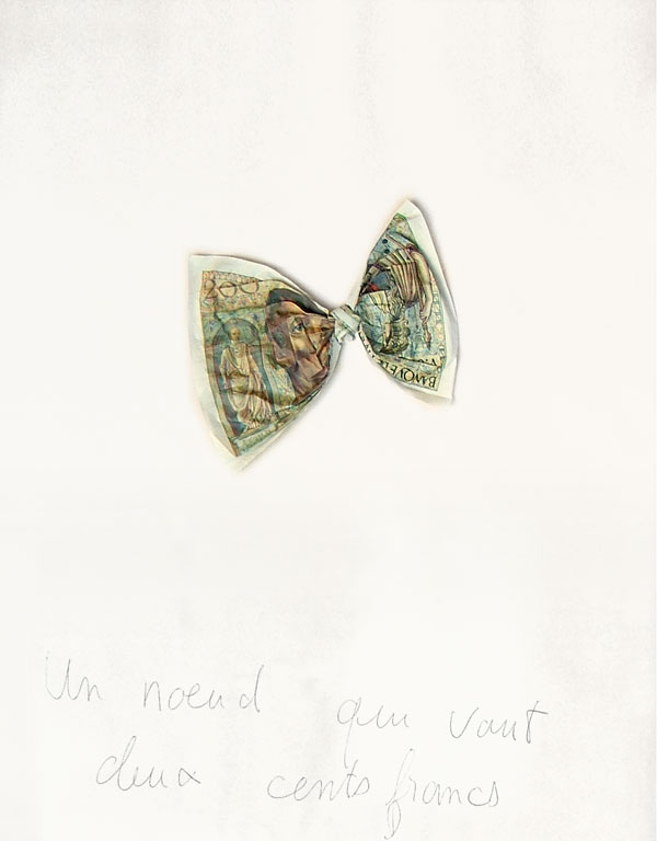 Claude Closky, 'Un nœud qui vaut deux cents francs [a knot worth two hundred francs]', 1990, banknote, ballpoint on paper, 30 x 24 cm.